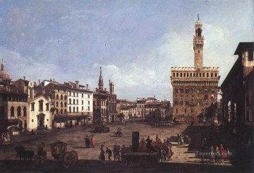 Lotto Art Painting - The Piazza Della Signoria In Florence urban Bernardo Bellotto