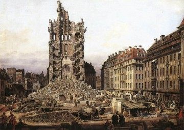Bernardo Art Painting - The Ruins Of The Old Kreuzkirche In Dresden urban Bernardo Bellotto