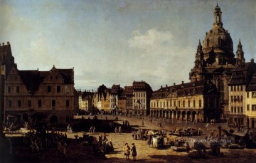 Lotto Art Painting - View Of The New Market In Dresden urban Bernardo Bellotto