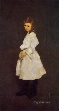 George Wesley Bellows Painting - Little Girl in White aka Queenie Barnett Realist Ashcan School George Wesley Bellows