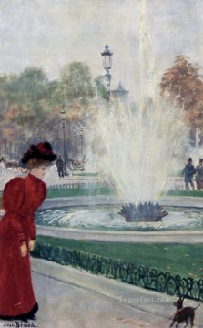 Jean Beraud Painting - Parisienne Au Rond Point Des Champs Elysees Jean Beraud