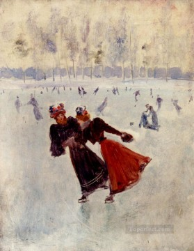 women Painting - Women Skating Jean Beraud
