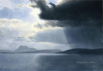 storm Works - Approaching Thunderstorm on the Hudson River luminism Albert Bierstadt
