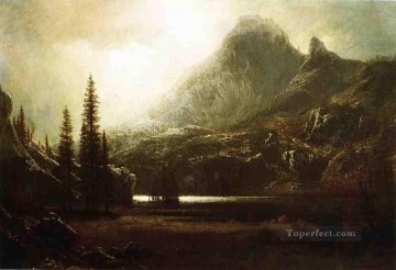 By a Mountain Lake Albert Bierstadt Oil Paintings