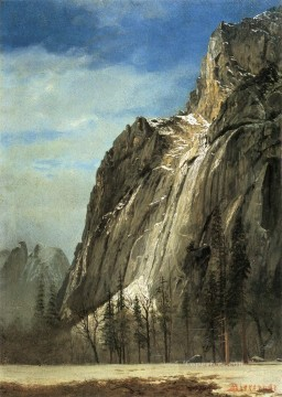 Albert Bierstadt Painting - Cathedral Rocks A Yosemite View Albert Bierstadt