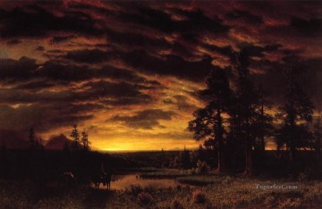 Albert Bierstadt Painting - Evening on the Prarie Albert Bierstadt