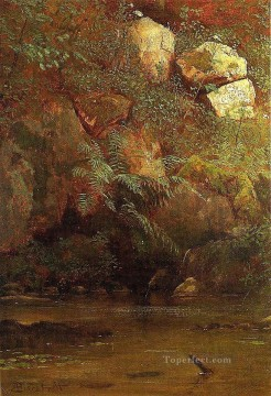 Albert Bierstadt Painting - Ferns and Rocks on an Embankment Albert Bierstadt