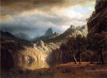 mountains Canvas - In Western Mountains Albert Bierstadt