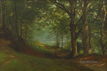 Artworks by 350 Famous Artists Painting - PATH BY A LAKE IN A FOREST American Albert Bierstadt