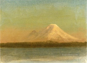 Sea Painting - Snow Capped Moutain at Twilight luminism seascape Albert Bierstadt