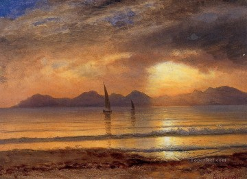 Albert Bierstadt Painting - Sunset over a Mountain Lake Albert Bierstadt