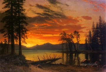 Albert Bierstadt Painting - Sunset over the River Albert Bierstadt