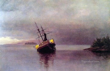 Albert Works - Wreck of the Ancon in Loring Bay luminism seascape Albert Bierstadt