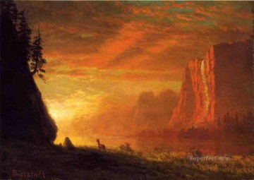 Albert Bierstadt Painting - Deer at Sunset Albert Bierstadt
