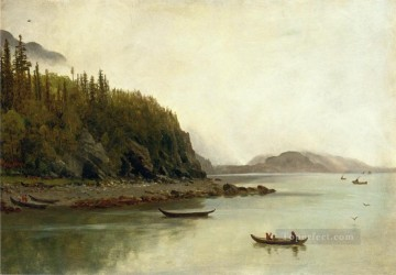 Albert Bierstadt Painting - Indians Fishing Albert Bierstadt