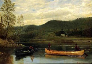 Albert Bierstadt Painting - Men in Two Canoes Albert Bierstadt
