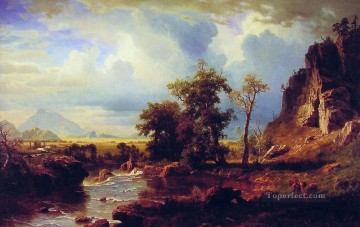Albert Bierstadt Painting - North Fork of the Platte Nebraska Albert Bierstadt