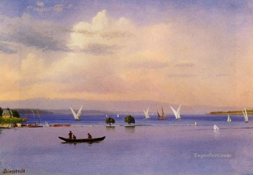 Lake Painting - On the Lake luminism seascape Albert Bierstadt