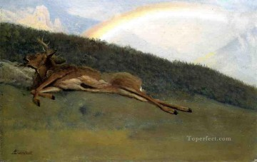 Bierstadt Oil Painting - Rainbow over a Fallen Stag luminism Albert Bierstadt