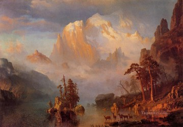 mountains Canvas - Rocky Mountains Albert Bierstadt