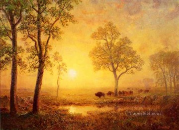 Albert Bierstadt Painting - Sunset on the Mountain Albert Bierstadt