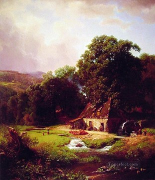 Albert Bierstadt Painting - The Old Mill Albert Bierstadt