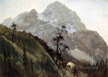 Albert Bierstadt Painting - Western Trail the Rockies Albert Bierstadt