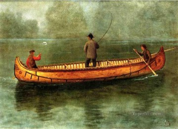 Sea Painting - Fishing from a Canoe luminism seascape Albert Bierstadt