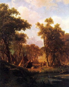 Albert Bierstadt Painting - Indian Encampment Shoshone Village Albert Bierstadt