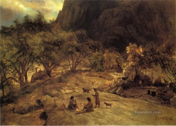 Albert Bierstadt Painting - Mariposa Indian Encampment Yosemite Valley California Albert Bierstadt