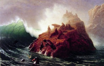 Albert Bierstadt Painting - Seal Rock luminism seascape Albert Bierstadt
