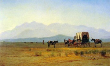 Albert Bierstadt Painting - Surveyors Wagon in the Rockies Albert Bierstadt