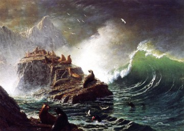 Seals on the Rocks Farallon Islands luminism seascape Albert Bierstadt Oil Paintings
