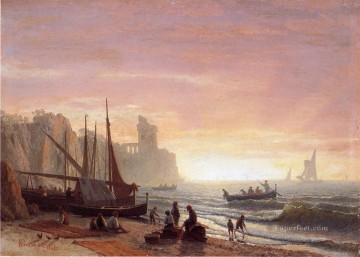 Albert Works - The Fishing Fleet luminism Albert Bierstadt