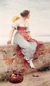 Blaas Oil Painting - A Pensive Moment lady Eugene de Blaas