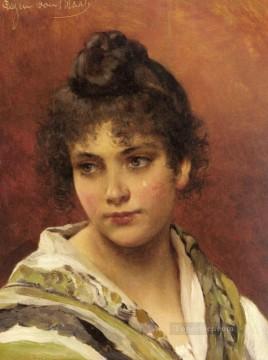 A Young Beauty lady Eugene de Blaas Oil Paintings