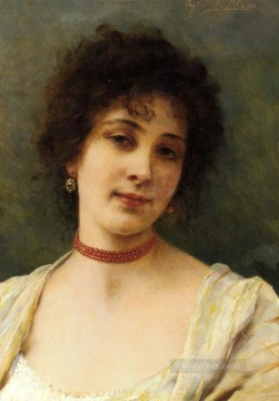 An Elegant Lady lady Eugene de Blaas Oil Paintings