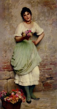 Blaas Oil Painting - De The Flower Seller lady Eugene de Blaas