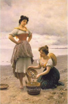 Gathering Shells lady Eugene de Blaas Oil Paintings