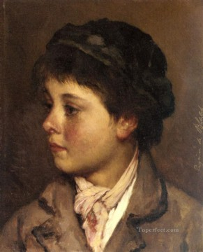 Eugene de Blaas Painting - Head Of A Young Boy lady Eugene de Blaas