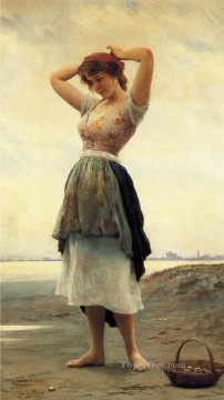 beach Art - On the Beach lady Eugene de Blaas