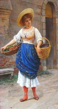 Fruit Painting - The Fruit Seller lady Eugene de Blaas