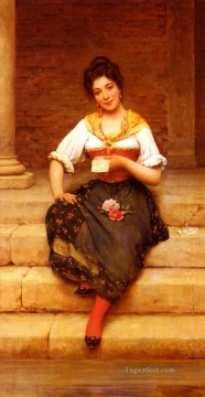 Blaas Oil Painting - The Love Letter lady Eugene de Blaas