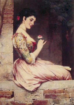 Eugene de Blaas Painting - The Rose lady Eugene de Blaas