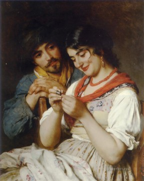 Eugene de Blaas Painting - The Seamstress lady Eugene de Blaas