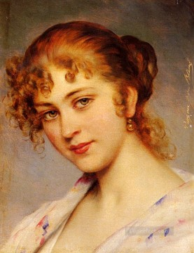 Portrait Painting - Von A Portrait Of A Young Lady lady Eugene de Blaas