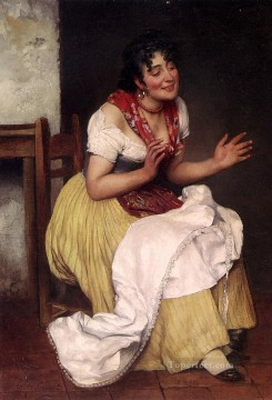 Eugene Painting - Von An Interesting Story lady Eugene de Blaas