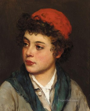 Blaas Oil Painting - von Portrait of a Boy lady Eugene de Blaas