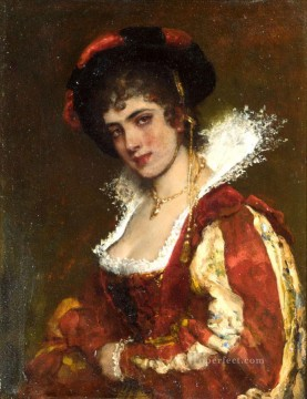 portrait Art - von Portrait of a Venetian Lady lady Eugene de Blaas