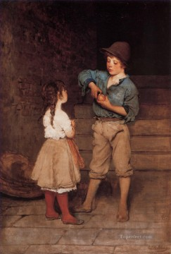 Blaas Oil Painting - von Two Children lady Eugene de Blaas